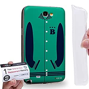 Case88 [Samsung Galaxy Note 2] Gel TPU Carcasa/Funda & Tarjeta de garantía - Art Sports Mint Baseball Jersey Art1987