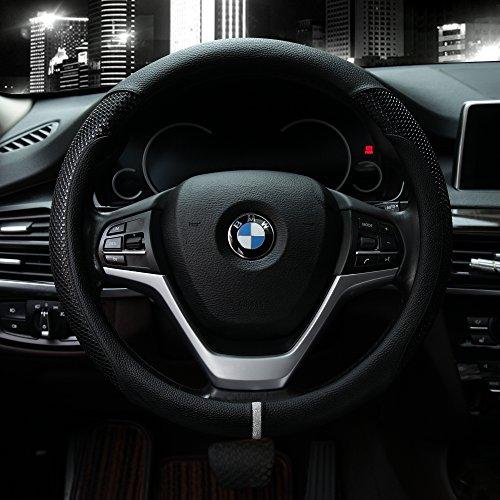 Valleycomfy Microfiber Leather Steering Wheel Covers Universal 15 inch - Mustang Cover Steering Wheel