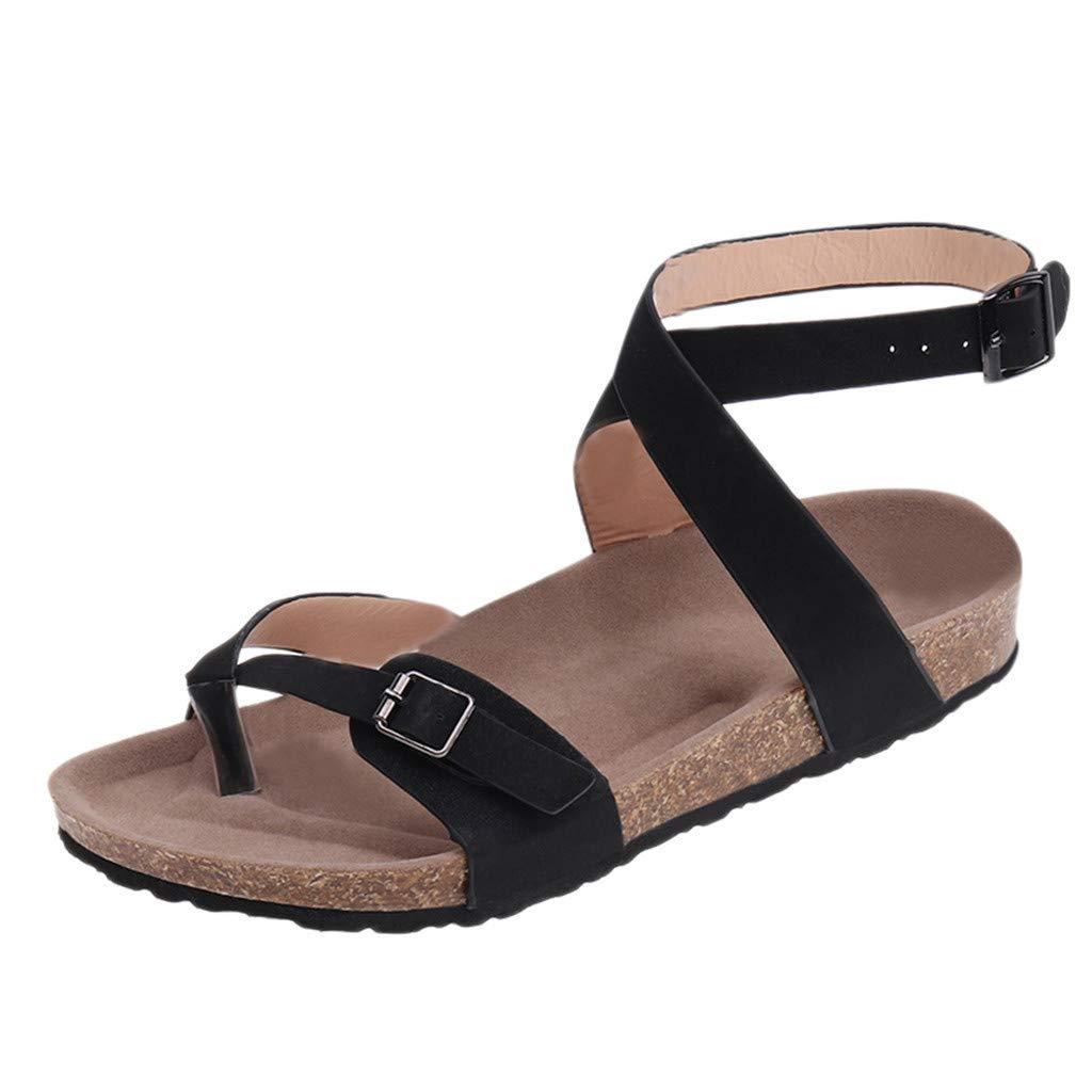 Everymony Summer Womens Fashion Toe Cross Buckle Simple Casual Beach Flats