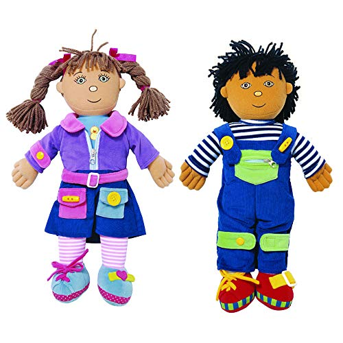 Excellerations Boy and Girl Dressing Dolls Preschool, Lacing Educational Toy - Set of 2 (Item # Duo)