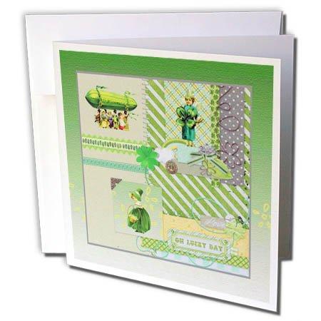 3dRose Beverly Turner St Patrick Day Design - Vintage Shamrock Blimp and People, Shamrock, Basket, Oh Lucky Day - 12 Greeting Cards with Envelopes (gc_282042_2)