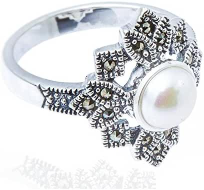 925 Oxidized Sterling Silver Swarovski Marcasite Cultured Freshwater Pearl Flower Leaf Ring