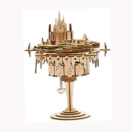 ZXCHB La Caja de música del Castillo de la música Caja de Madera, Figura Suena una melodía de la Ciudad en los Regalos del Cielo Montaje: Amazon.es: Hogar