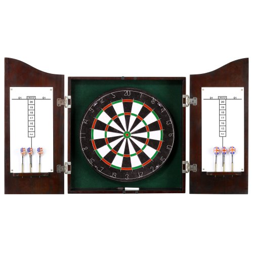 Hathaway Centerpoint Solid Wood Dartboard and Cabinet Set, Dark Cherry Finish (Bristle Dart Board With Cabinet)