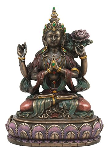 - Ebros Avalokiteśvara Kuan Yin Seated On Lotus Throne Statue 6