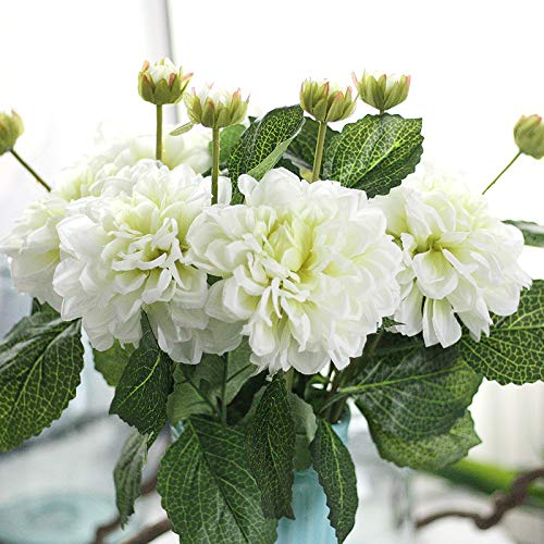 """Furnily Dahlia Artificial Flowers 5 Stems 18.5"""" Long of Silk Fake Flowers for Office Yard Home Decoration (White)"""