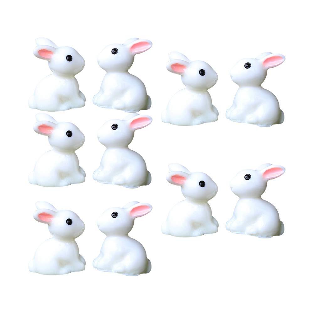 hwangli 10Pcs Lovely Mini Rabbit Resin Crafts Miniature Bonsai Plants Landscape Garden Decor White