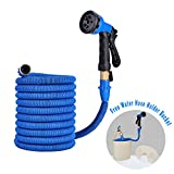 50Ft Expandable Garden Hose with Water Hose Holder Bucket,Expanding Kink-free Hose Pipe with 8 Pattern Hose Nozzle,5000 Denier Woven Casing Strength Fabric Surrounds Latex Inner Tube,Blue by DOMIRE