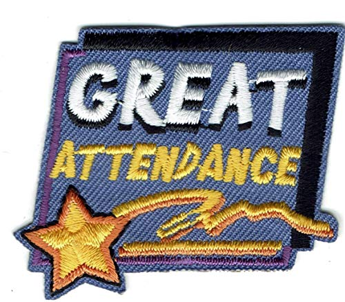 2Pcs Girl Boy Cub Great ATTENDANCE Fun Patches Crests Badges Scouts Guide Iron On