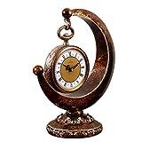 HONGNA European Plastic Clock Ornaments Living Room Home Clocks Atmosphere Sitting Clocks Desktop Pendulum Clock Creative Desk Clock Desktop Clocks 12 Inches (Color : Brown, Size : 12 inches)