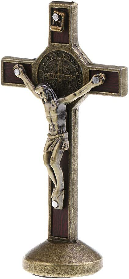 Sharplace Crucifix Jesus Christ On The Stand Cross Figurine For Home Chapel Ornament Bronze Amazon Co Uk Kitchen Home