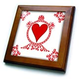 3D Rose ft_218676_1 3dRose Ace of Hearts. Playing Cards. Poker. White and Black. Popular Image. -Framed Tile, 8 by 8-inch