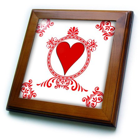 (3dRose 3D Rose Ace of Hearts. Playing Cards. Poker. White and Black. Popular Image. - Framed Tile, 8 by 8-inch (ft_218676_1))