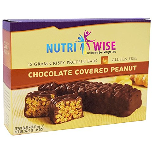 NutriWise - Chocolate Covered Peanut Diet Protein Bars (7 bars) by NutriWise