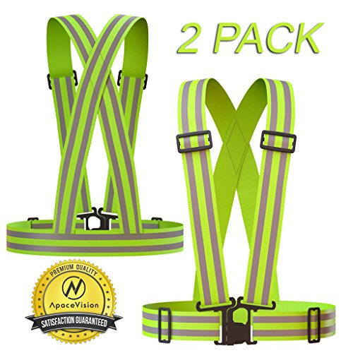 REFLECTIVE VEST (2 Pack) | Lightweight, Adjustable & Elastic | Safety & High Visibility for Running, Jogging, Walking, Cycling | Fits over Outdoor Clothing - Motorcycle Jacket/Running Gear/Shirt by Apace Vision