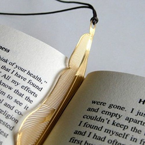 (Metal Bookmarks with Leather String,18K Gold Plated,Feather Design (3PCS) )