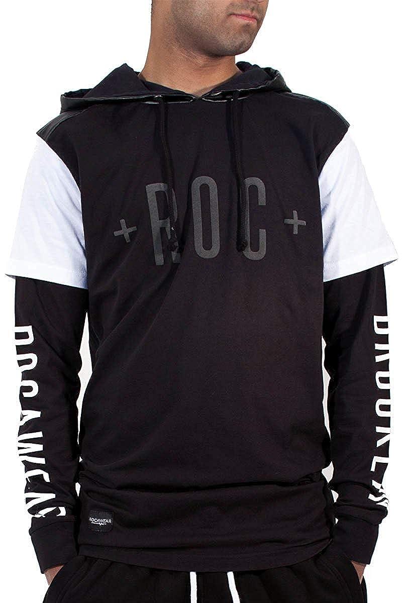 Rocawear Uomini Ragazzi Brooklyn Doppio Manica T-Shirt lunga Felpa con cappuccio Con Zip Hip Hop