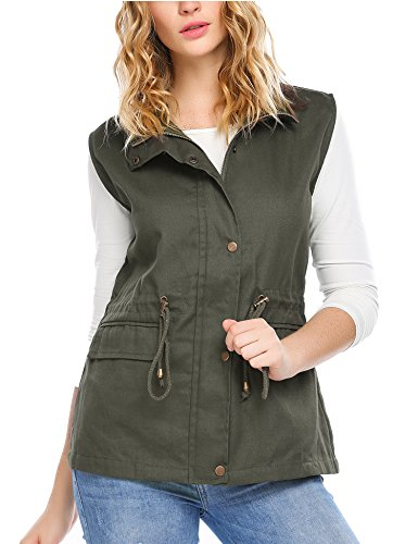 Zeagoo Womens Lightweight Sleeveless Button Up Military Utililty Anorak Vest, Army Green, S ()