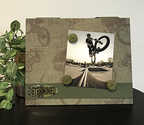 BMX Stunt Rider buttons green defying gravity gift handmade magnetic picture frame holds 5