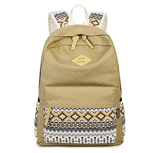 Capacity School Girls Bagpack Large Bookbag Print School Lady Backpacks Vintage Backpacks Dot Canvas Teen Backpack Backpack Beige Beige wCqRxIn8