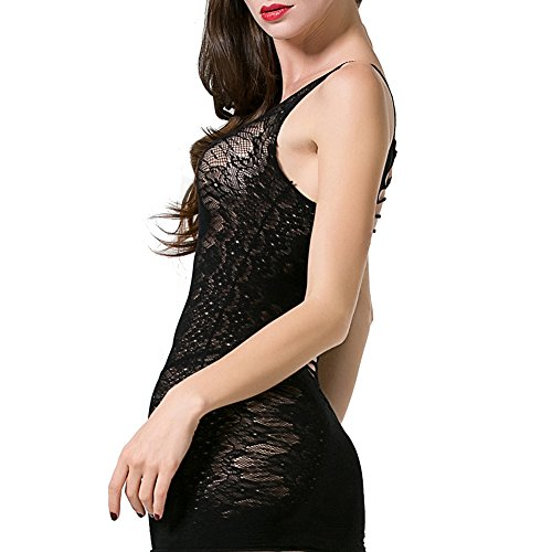 Beutii Women Sexy Lingerie Crotchless Fishnet Teddy Plus Size Bodystocking Mesh Chemise Dress Bodysuits by Beutii (Image #2)