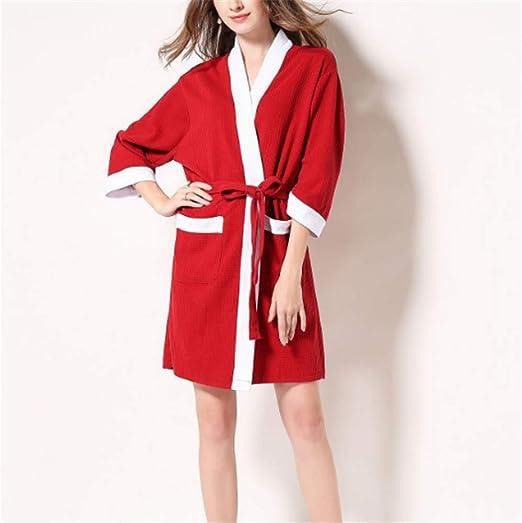 Mujeres Kimono Batas Algodón Ligero Bata Corta Tejido Albornoz ...
