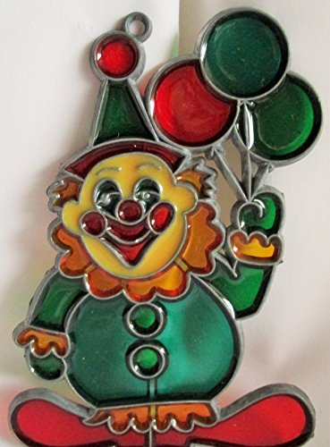 [Resin Stained Glass Sun Catcher Clown w/Balloons] (Clown Glasses)