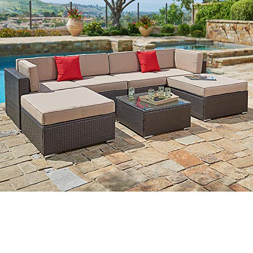 (SUNCROWN Outdoor Furniture Sectional Sofa Set (7-Piece Set) All-Weather Brown Wicker with Brown Washable Seat Cushions & Modern Glass Coffee Table | Patio, Backyard, Pool | Incl. Waterproof Cover)