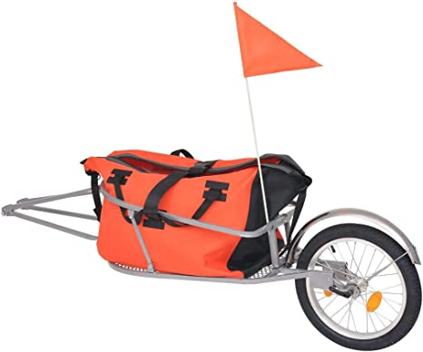 vidaXL Remolque de Bicicleta Equipaje Bolsa Naranja Negra Transporte Bultos: Amazon.es: Bebé