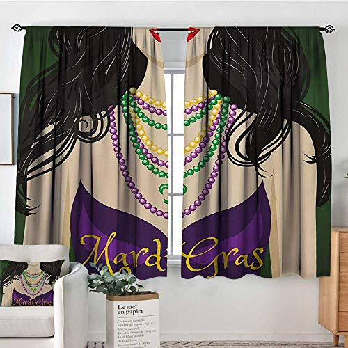 (All of better Mardi Gras Patterned Drape for Glass Door Young Woman with Party Dress and Necklace with Fleur De Lis Symbol Accessories Customized Curtains 55