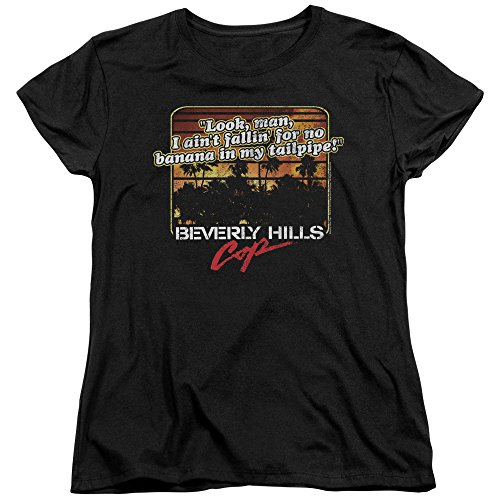 Trevco Beverly Hills Cop Banana in My Tailpipe Women's T Shirt, Medium Black