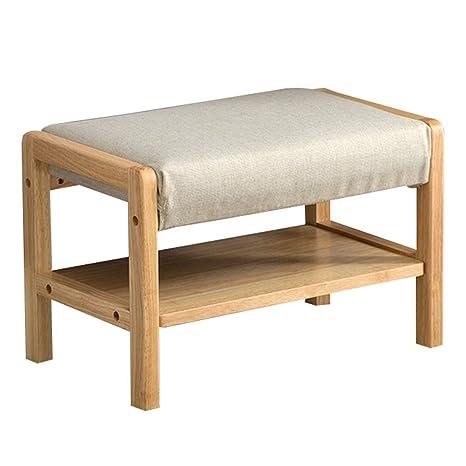Amazon.com: WUFENG - Zapatero de madera maciza con banco de ...