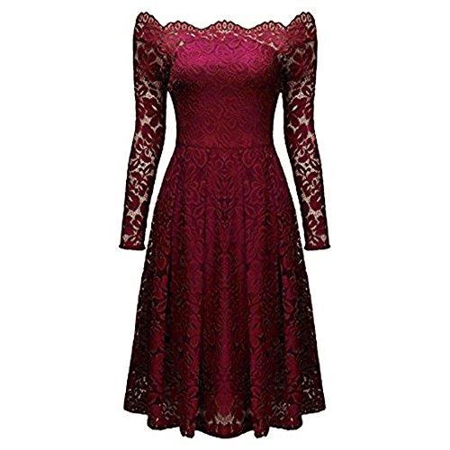 manga la fiesta vestido AIMEE7 escote vendimia Vestido de mujeres larga de coctel Rojo de descubiertos vestido formal mujer hombros vestido de fiesta vestido elegante noche las de 6q88wfS
