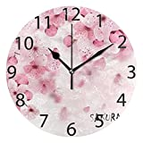 ALAZA Japanese Cherry Blossom Round Acrylic Wall Clock, Silent Non Ticking Oil Painting Home Office School Decorative Clock Art