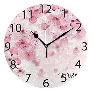 Amazon Com Alaza Japanese Cherry Blossom Round Acrylic Wall Clock