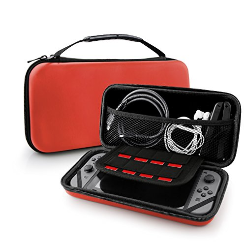 Nintendo Switch Case Bag, Swees Protective Hard Shell Carrying Accessories Game Traveler Deluxe Travel Case with 8 Game Cartridge Holders Double Zipper Design for Nintendo Switch Console, Red