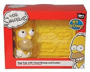 Paladone - Huevera con cortador y moldeador de tostadas, diseño de los Simpsons - Copa huevo y sello pan simpsons