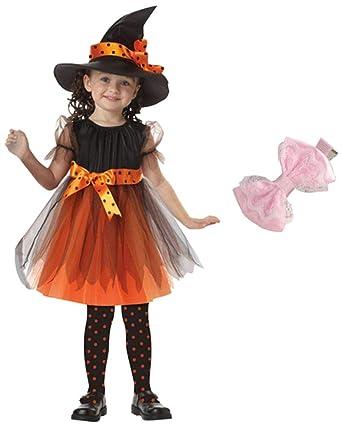 99f8929207711 子供服 Timsa ワンピース 女の子 ハロウィーン仮装 レース リボン付き 巫女 魔女 悪魔 ウィッチ コスチューム 仮装