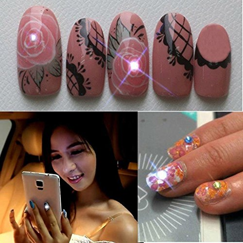 EA-STONE Women NFC Nail Stickers with Flashing LED Lights Fashionable Art Party DIY Nail Decoration (light blue)