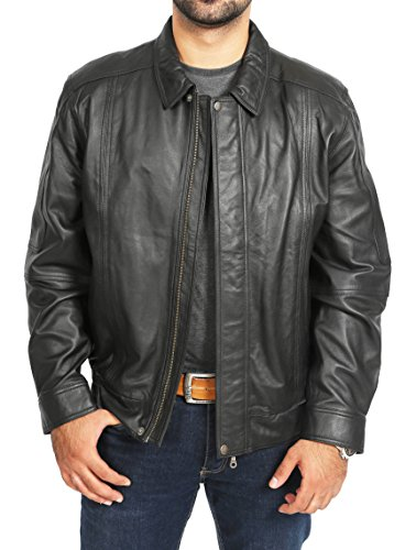Jacket Blouson Zip Leather Black Fit Up Style Soft Mens Bomber Classic Jim 6xEBwFFZq