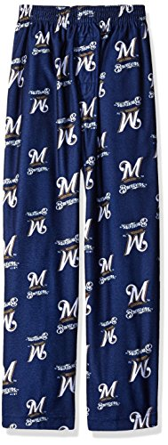 OuterStuff MLB Milwaukee Brewers Boys 4-7 Sleepwear All Over Print Pants, Medium (5-6), Athletic Navy (Clothes Milwaukee Brewers)