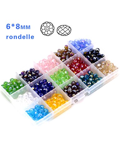 Crystal Beads Rondelle Loose Beads-8mm Briolette Faceted Round Assorted 15 Colors Total 525pcs For Bracelet with a free Container (Mm Briolettes Crystal)