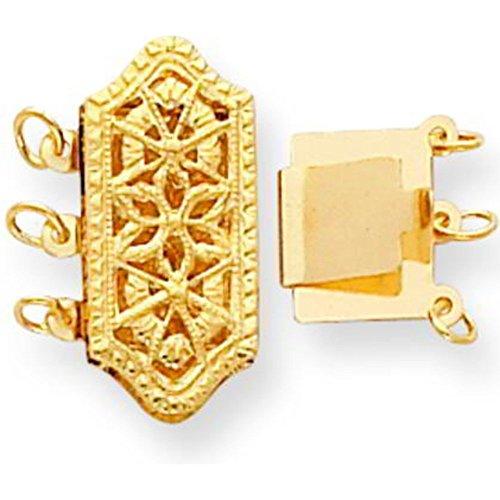 Strand Gold Three 14k (14K Gold 3 Strand Pearl Clasp 18.2mm)