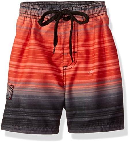 Big Boys' Haywire Stripe Quick Dry Beach Board Shorts Swim Trunk Black/Red Large (14/16) [並行輸入品]