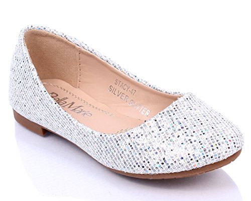 Fashion Round Toe Causal Sexy Padded Glitter Womens Easy Silp on Flats Shoes New Without Box Silver xyOmRkW