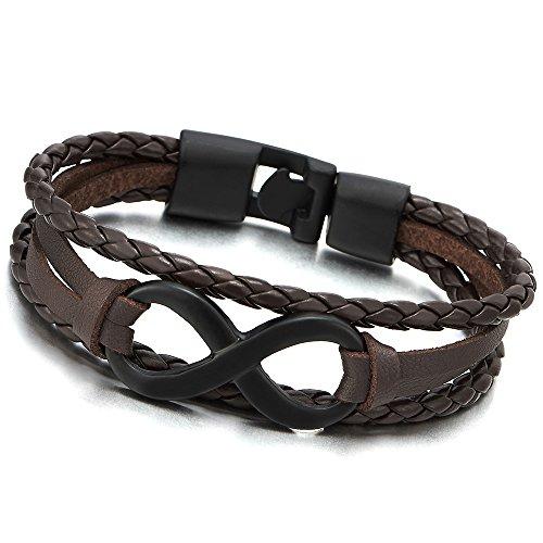 Infinity Leather Bracelet Three Row Wristband