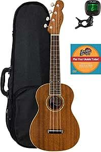 Fender Zuma Concert Ukulele Bundle with Hard Case, Tuner, and Austin Bazaar Instructional DVD