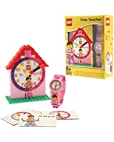 LEGO 9005039 Time Teacher Pink Kids Minifigure Link Buildable Watch, Constructible Clock and Activity Cards | pink/white | plastic | 28mm case diameter| analog quartz | boy girl | official