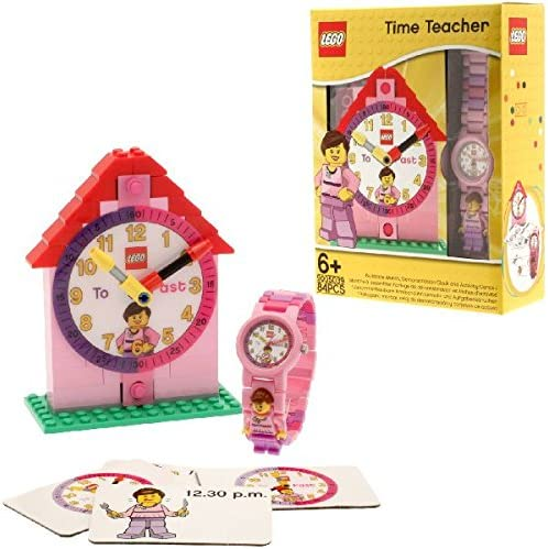 LEGO 9005039 Time Teacher Pink Kids Minifigure Link Buildable Watch, Constructible Clock and Activity Cards   pink/white   plastic   28mm case diameter  analog quartz   boy girl   official
