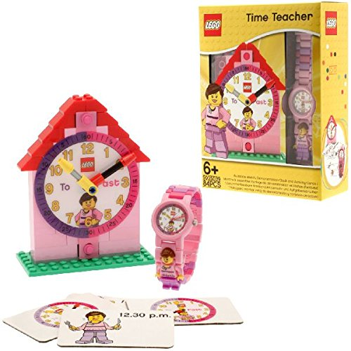 LEGO Time Teacher 9005039 Pink Kids Minifigure Link Buildable Watch, Constructible Clock and Activity Cards | pink/white | plastic |...